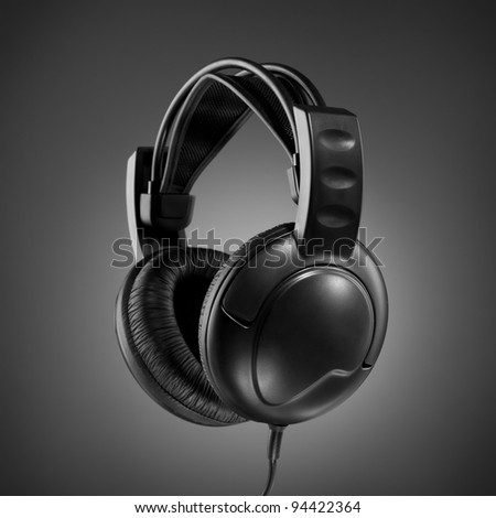 Headphones on grey background