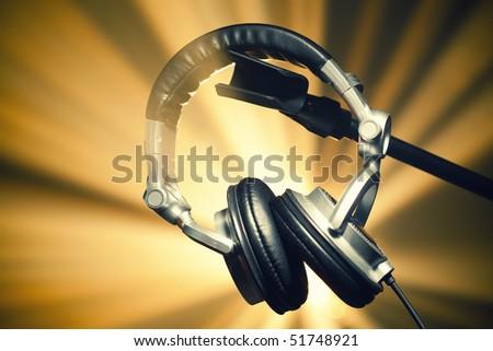 headphones on shiny background - stock photo