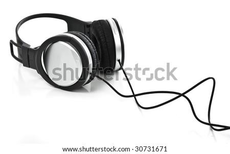 headphones on white background - stock photo