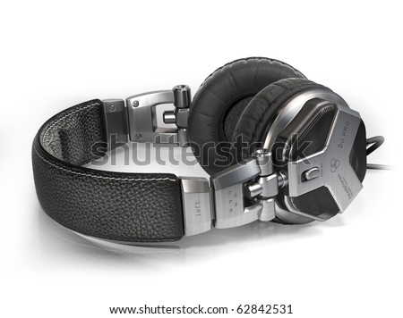 Headphones on white. My own design made for the image. Logo is a fake. - stock photo
