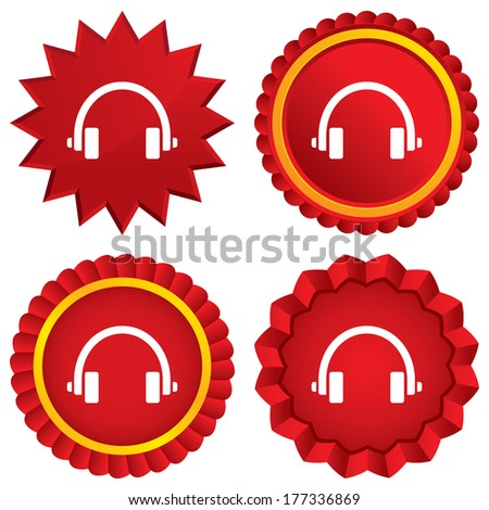 Headphones sign icon. Earphones button. Red stars stickers. Certificate emblem labels. - stock photo