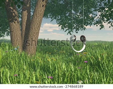 Headphones teeter-totter concept - stock photo