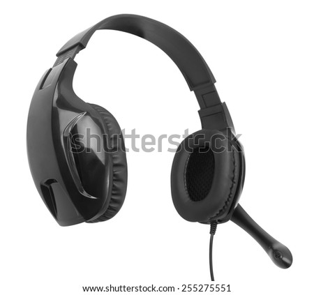 Headphones with a microphone isolated on white background - stock photo