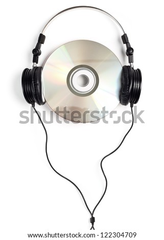 Headphones with blank CD on white background - stock photo