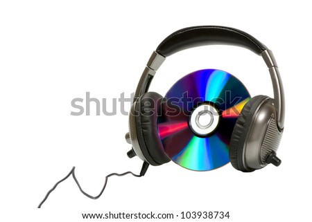 Headphones with CD isolated on white background