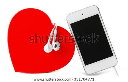 headphones with heart and phone on white background