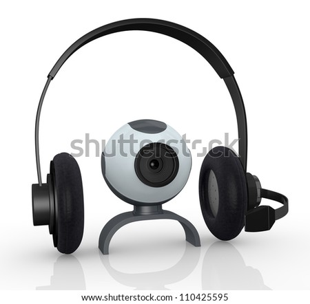 headphones with mic and a webcam, concept of online communications (3d render) - stock photo