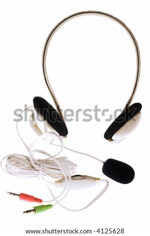 Headphones with microphone and jacks isolated on white
