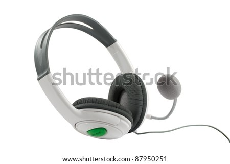 Headphones with microphone, close-up isolated on a white background.