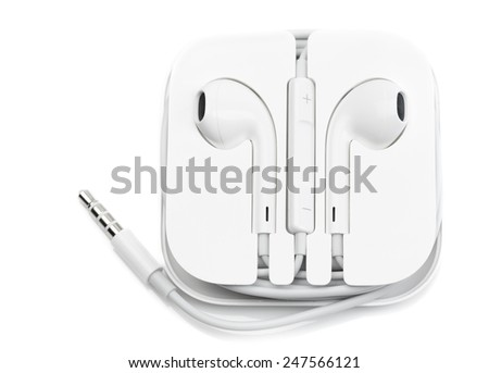 Headphones with volume control. Isolate on white background. - stock photo