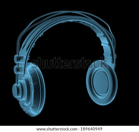 Headphones x-ray blue transparent isolated on black
