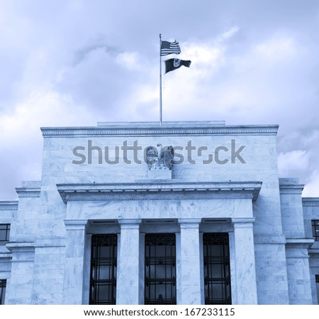 headquarter of the Federal Reserve in Washington, DC, USA,FED, cyanotype - stock photo