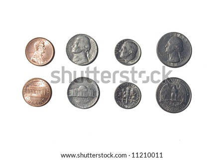 Heads and Tails, change Isolated - stock photo