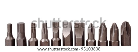 Heads for screwdriver isolated on white background
