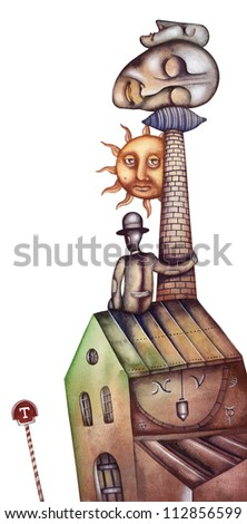 Heads on a pillow. Allegory of Dream - stock photo