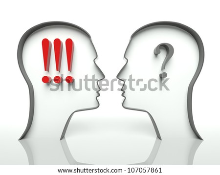 Heads with question marks and exclamation, concept of misunderstanding - stock photo