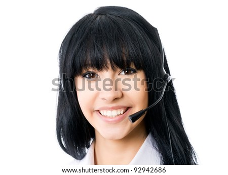 Headset. Customer service operator woman with headset smiling looking at camera. Isolated on white background. - stock photo