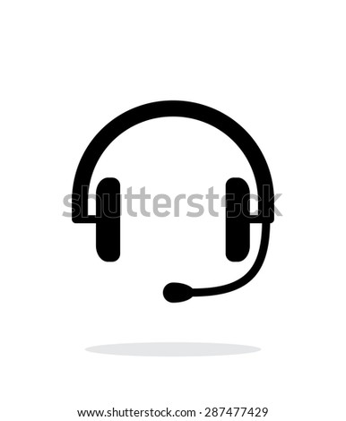 Headset icon on white background. - stock photo