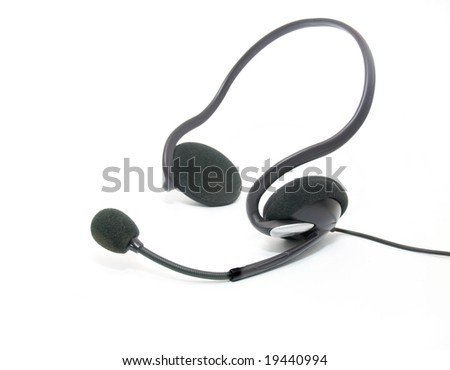 Headset isolated on a white background - stock photo