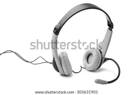 Headset on white background - stock photo