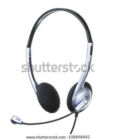 headset, phohes with microphone, isolated on white - stock photo