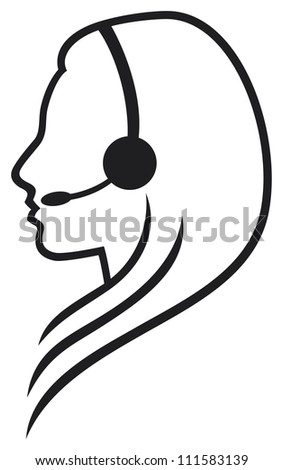 headset symbol (women headset, call center icon, face with headset, support phone operator in headset, women customer support) - stock photo