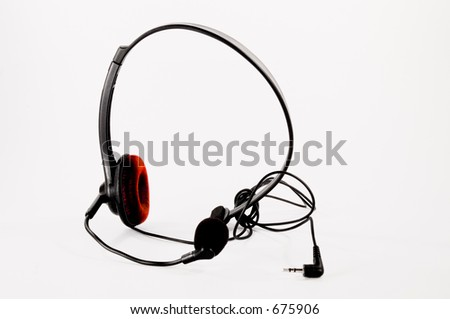 Headset with Red Ear Cuff