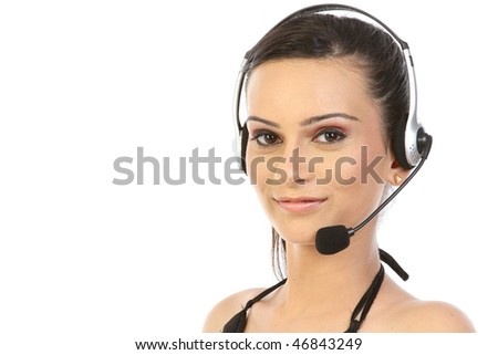 Headset woman in profile - closeup on white background. - stock photo