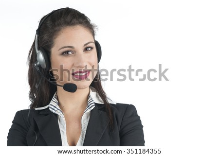 Headset woman on white background. - stock photo
