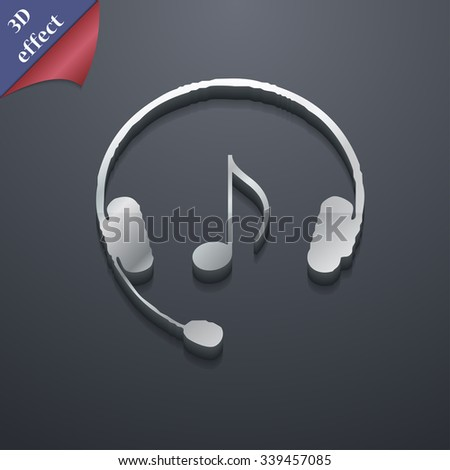 headsets icon symbol. 3D style. Trendy, modern design with space for your text illustration. Rastrized copy - stock photo