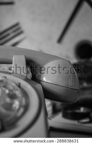 Headsets old and vintage black and white background. - stock photo