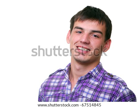 headshot. good smiling young man in shirt isolated on white - stock photo