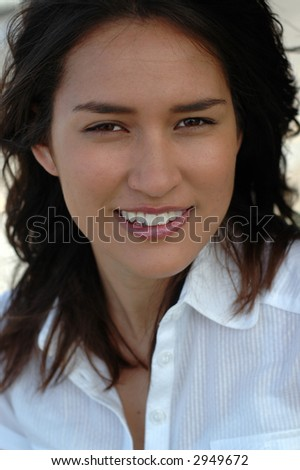 Headshot of a beautiful American girl of mixed heritage