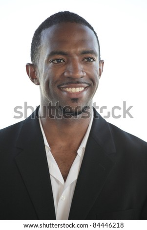 Headshot of a smiling African American businessman - stock photo