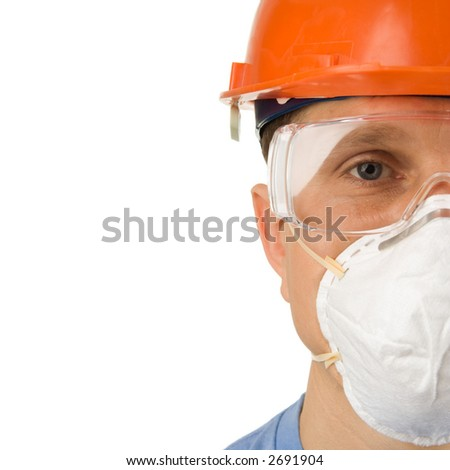 Headshot of a worker in protective workwear, isolated - stock photo