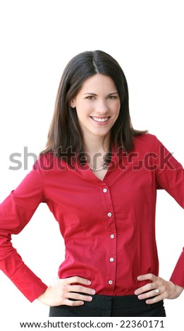 Headshot of an attractive business, corporate female in a suit. - stock photo