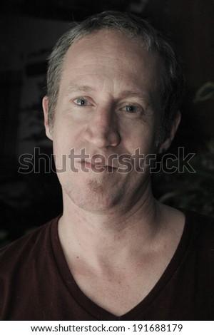 Headshot of middle-aged caucasian model - stock photo