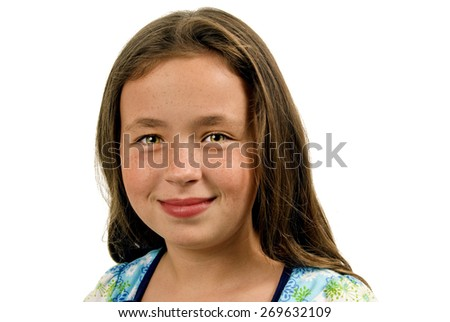 Headshot Of Sweet Little Girl On White Background/ Sweet Little Girl Smiling On A White Background - stock photo