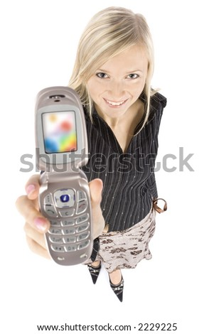headshot of young blonde woman with moble phone (white background) - stock photo