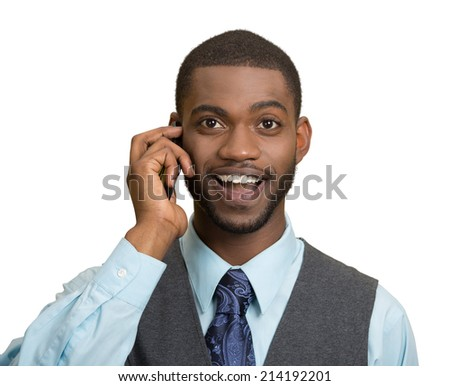 Headshot, portrait happy business man, young guy talking on mobile phone smiling isolated white background. Positive human facial expressions, emotions, feelings, life perception, attitude, thinking - stock photo