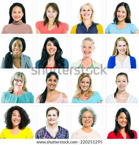 Headshots of Diverse Women - stock photo