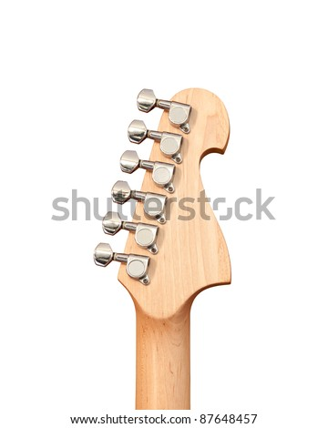 Headstock of the electric guitar on white background