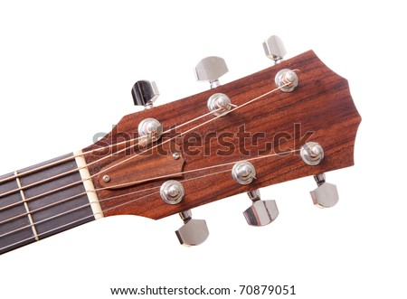 Headstock of the guitar  over white background - stock photo