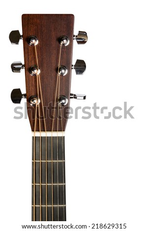 Headstock of the six string electric guitar on white background - stock photo