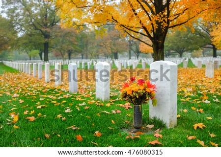 Headstone in Arlington National Cemetery in Autumn - Near to Washington D.C.