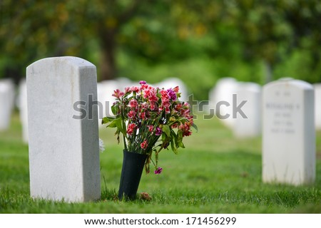 Headstones in Arlington National Cemetery - Washington DC United States  - stock photo