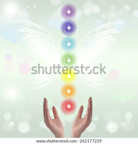 Healing Hands - The Seven Chakras  - stock photo