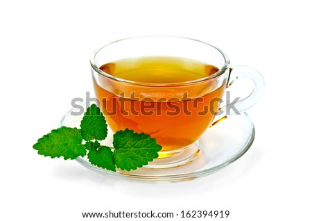 Healing herbal tea in a glass bowl with a sprig of lemon balm isolated on white background - stock photo