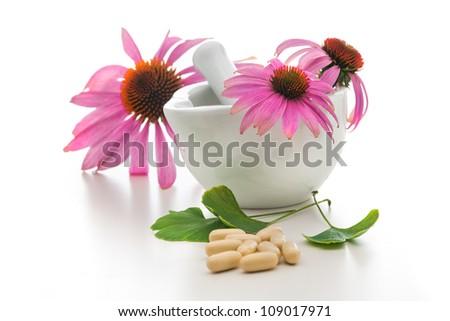 Healing herbs and a mortar. Alternative medicine concept - stock photo