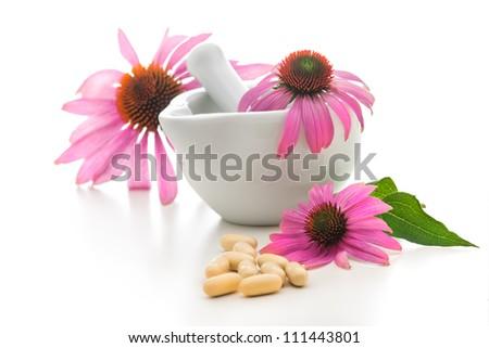 Healing herbs and amortar. Alternative medicine concept - stock photo